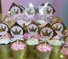 Pink and Gold Princess Cupcake Toppers, birthday party, Cake