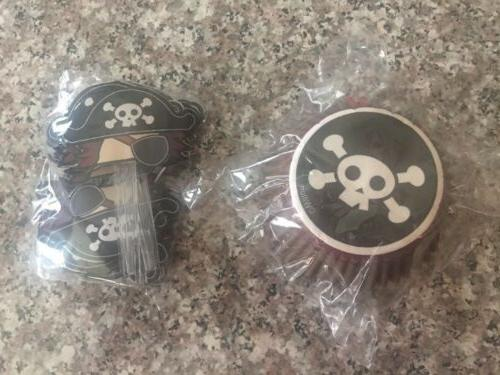 Pirate Cupcake Liners And Toppers, Set Of 24