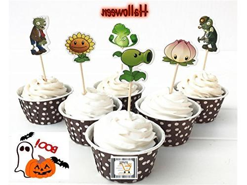 Plants Vs Zombies Cupcake Toppers Halloween Birthday Event