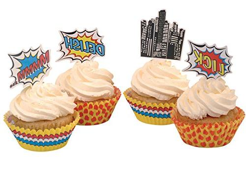 pop superhero party decorations cupcake