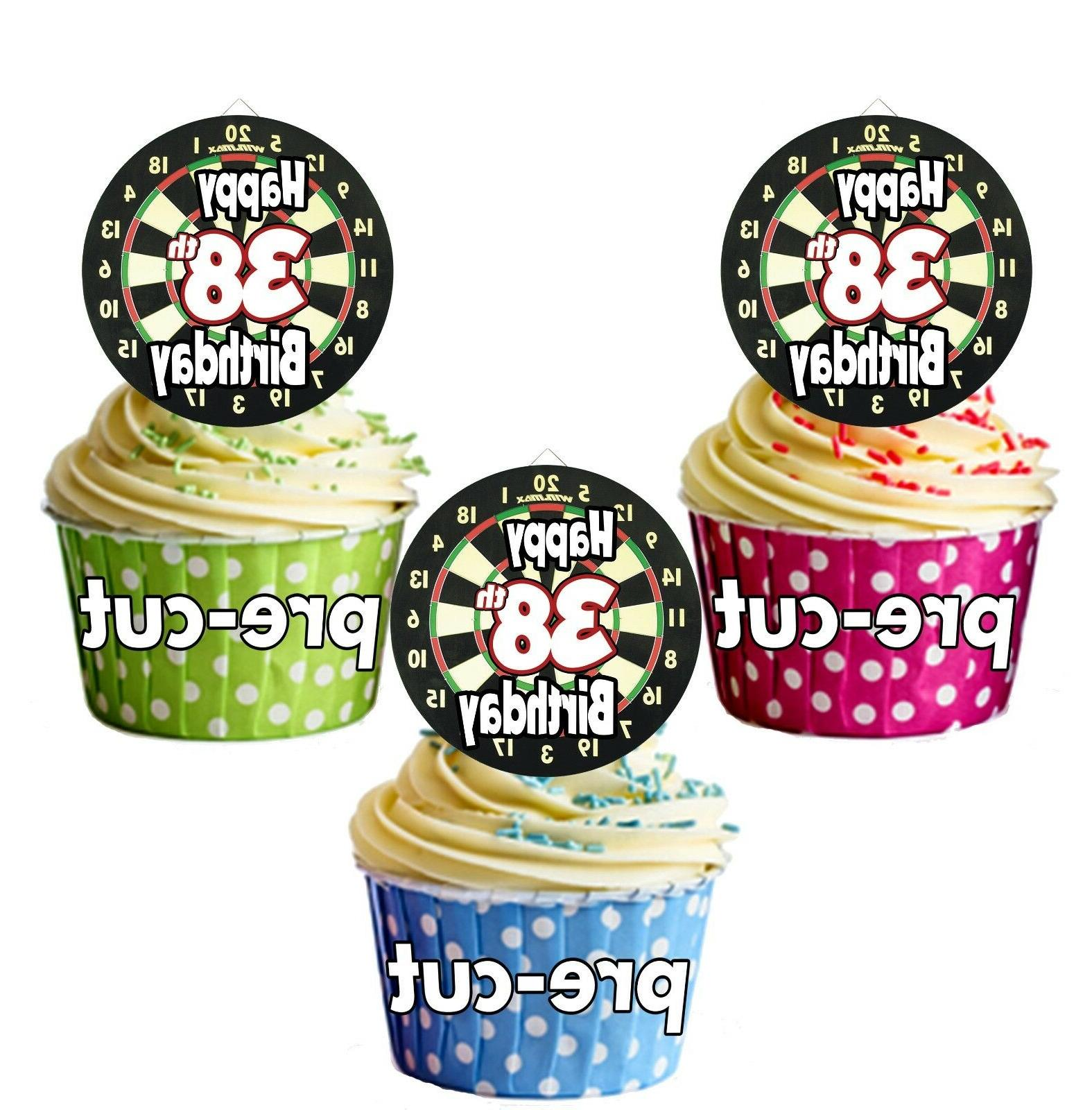 PRECUT Dartboard Darts 12 Cup Cake Toppers Birthday Decorati