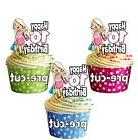 PRECUT Glamour Shopping Birthday Girl - 12 Cup Cake Toppers