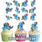 PRECUT My Little Pony Rainbow Dash 12 Edible Cupcake Toppers