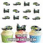 PRECUT Police Car Motorbike 12 Edible Cupcake Toppers Birthd