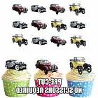 PRECUT Vintage Classic Cars 12 Edible Cupcake Toppers Decora
