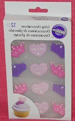 Princess/Crown Edible Cupcake Toppers,Royal Icing,Wilton,710
