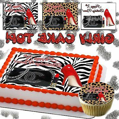 Purse Edible Cake topper birthday cheetah leopard skin Shoe