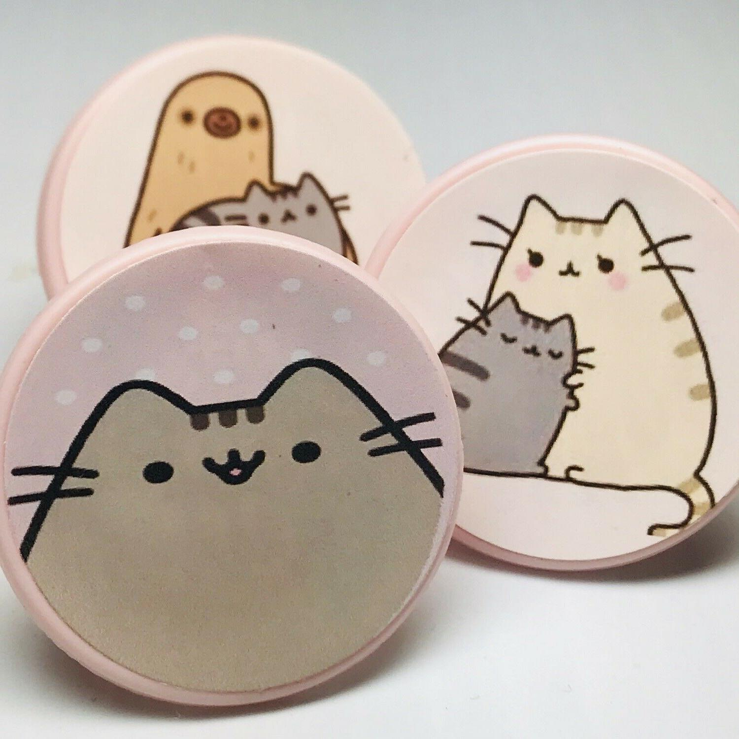 Pusheen Kitty Cat Cupcake Toppers Rings Birthday Party Favor