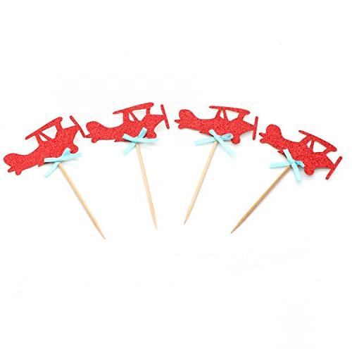 red airplane cupcake toppers