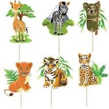 Safari Jungle Animals Cupcake Toppers Birthday Party