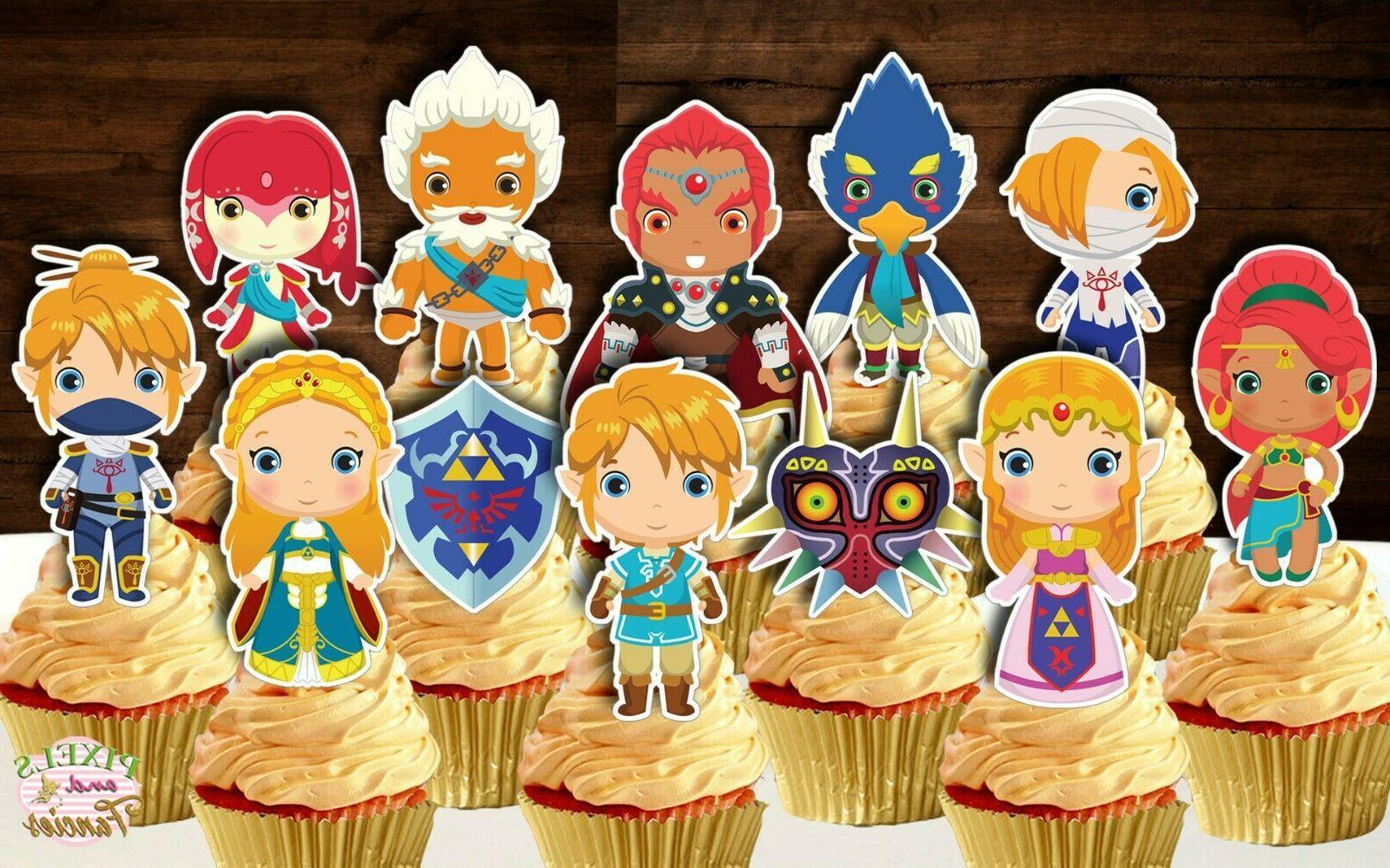 set of 12 legend of zelda cupcake