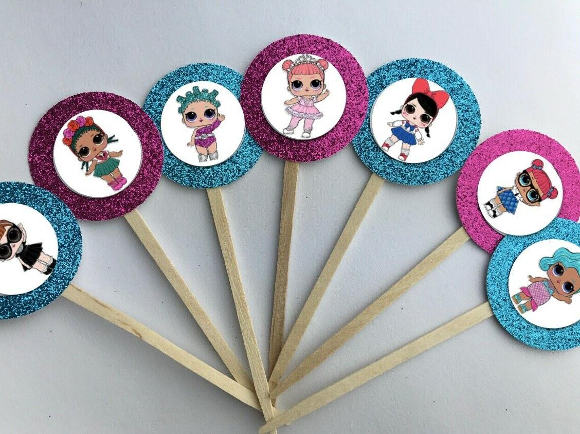 set of 12 lol surprise cupcake toppers