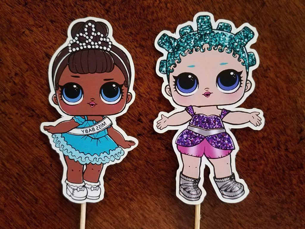 Set Surprise Dolls Cupcake Toppers, Cupcake Picks,