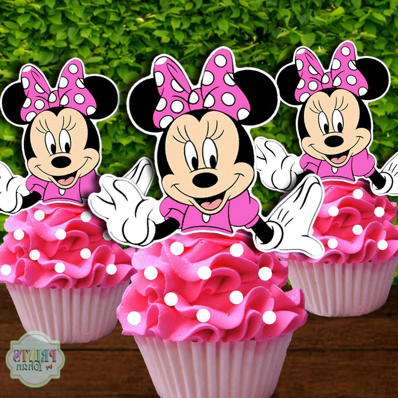 set of 12 minnie mouse cupcake toppers