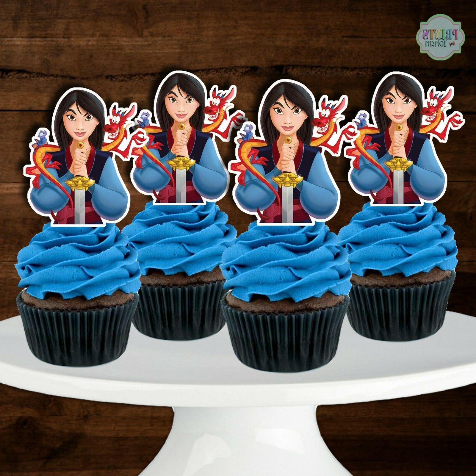 set of 12 mulan cupcake toppers cupcake