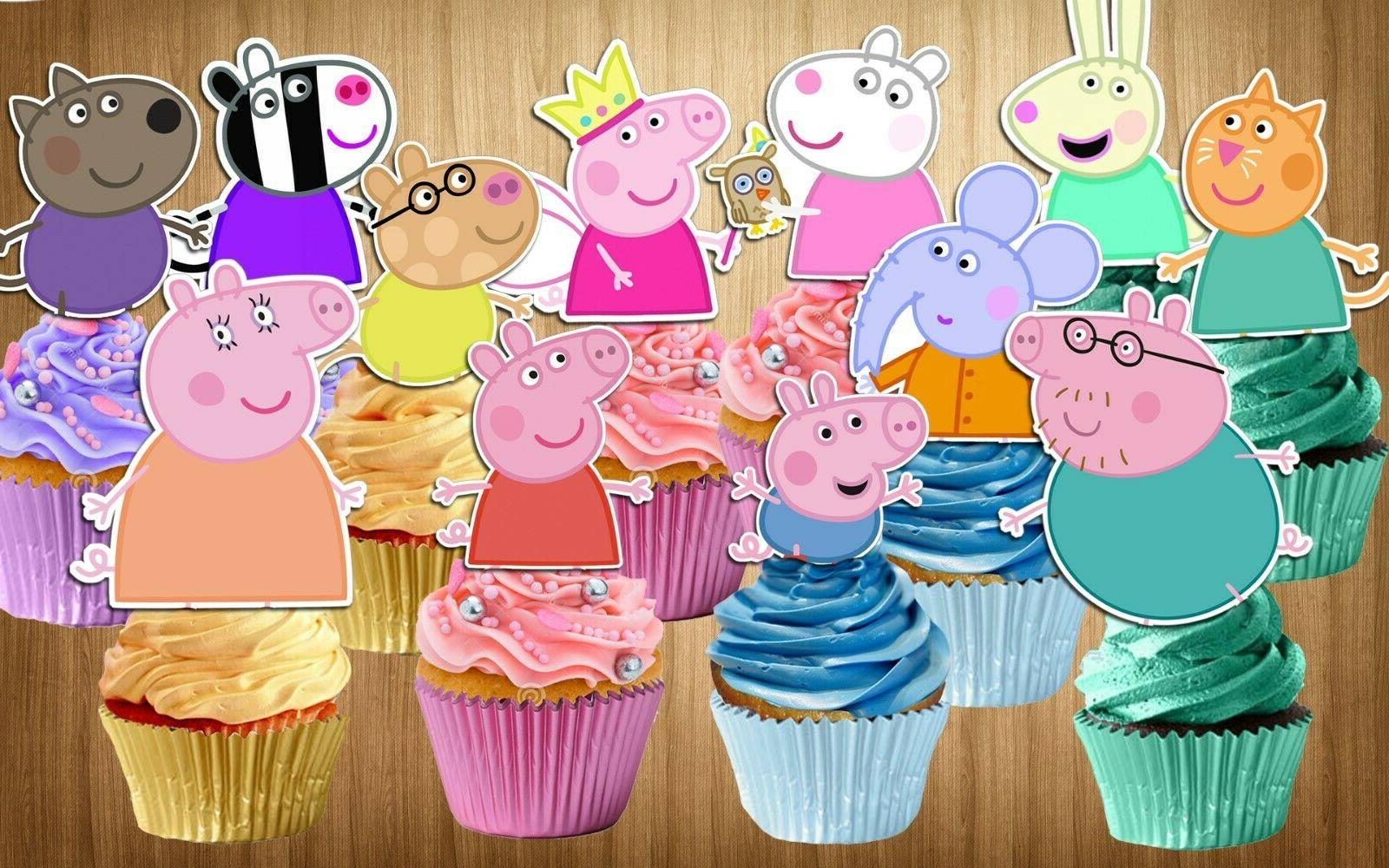 set of 12 peppa pig cupcake toppers
