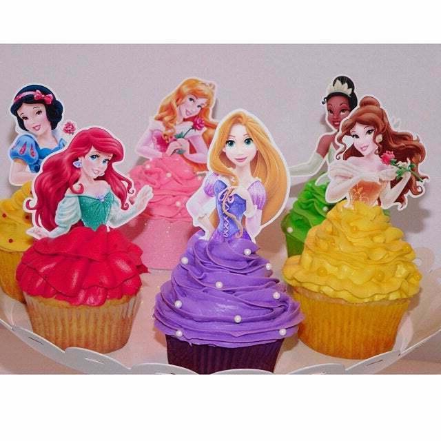 Set 12 PRINCESS Toppers, Cupcake Picks, Cupcake