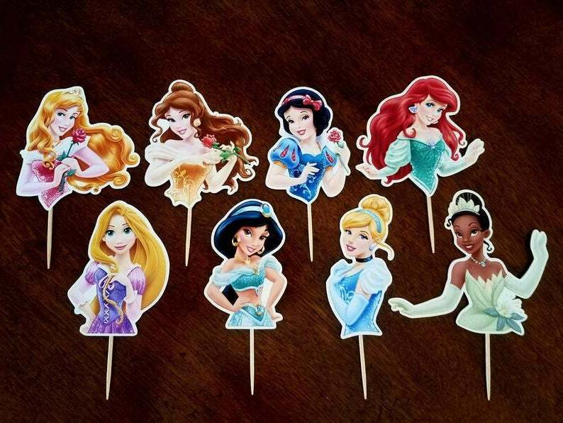 Set of PRINCESS Toppers, Picks, Cupcake