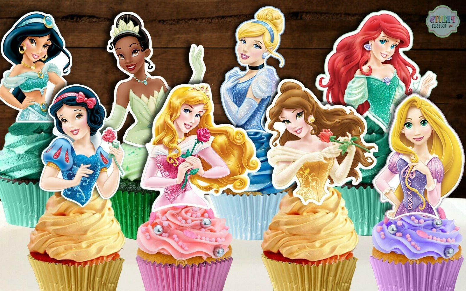 set of 24 disney princess cupcake toppers