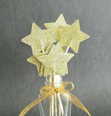 Set of 24 Gold Star Toppers Food Double-Sided