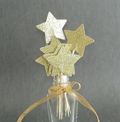 set of 24 shimmering gold glitter star
