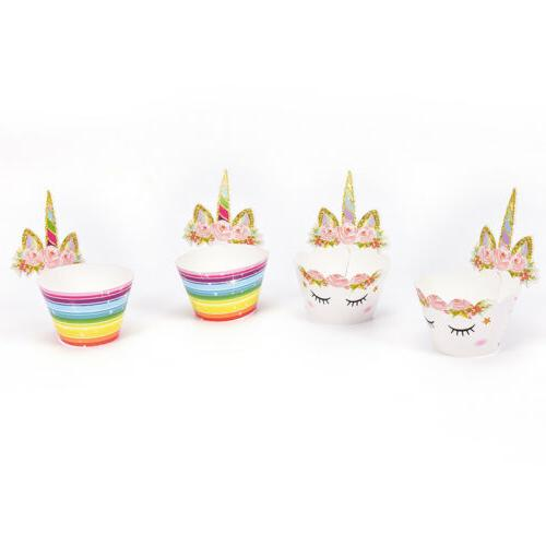 Set of 24 Unicorn Cupcake Toppers and Wrappers Double Sided
