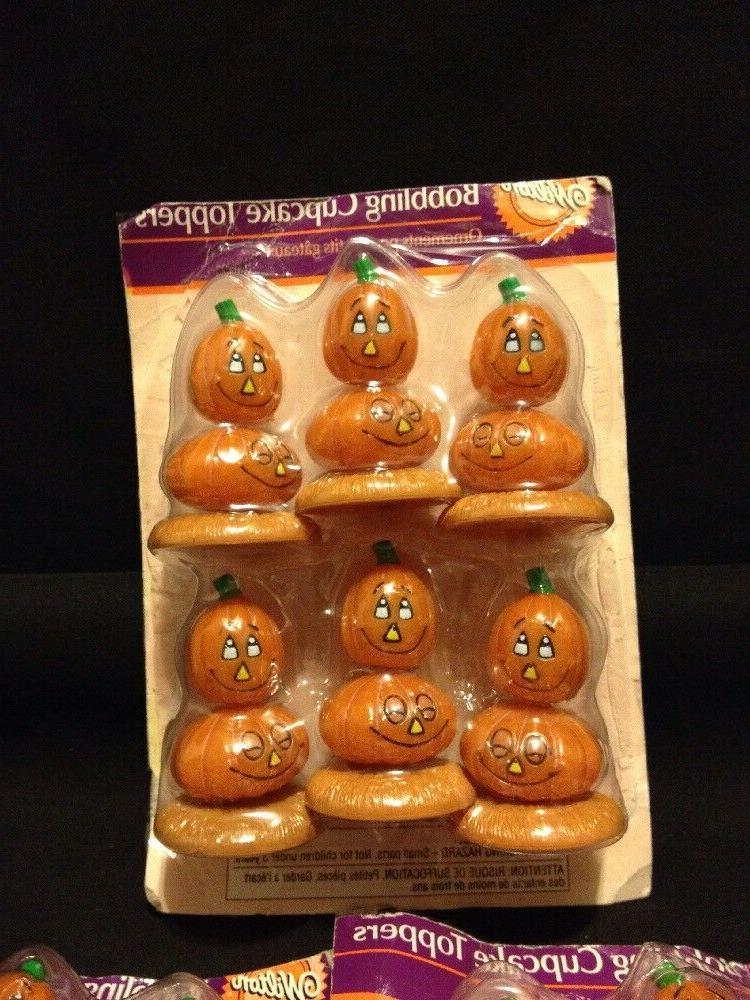 set of 3 bobbling pumpkin cake cupcake