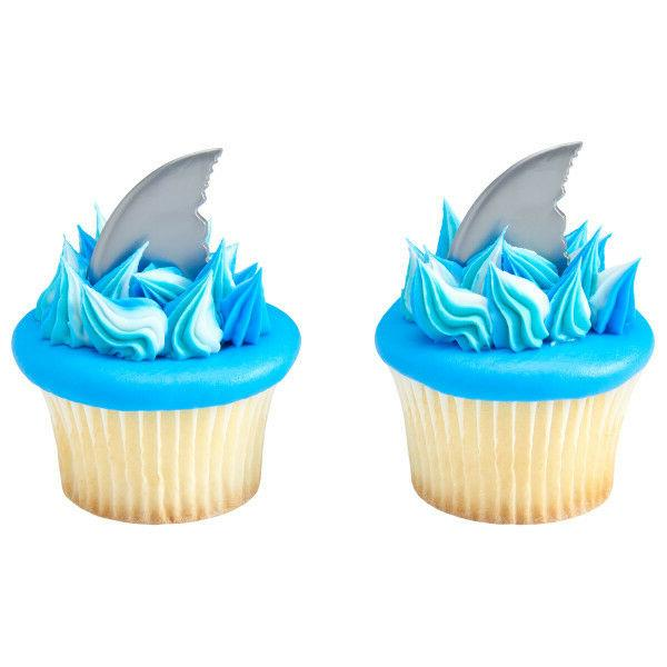 Shark Fin Ocean cupcake picks  favor cake topper 2 doz