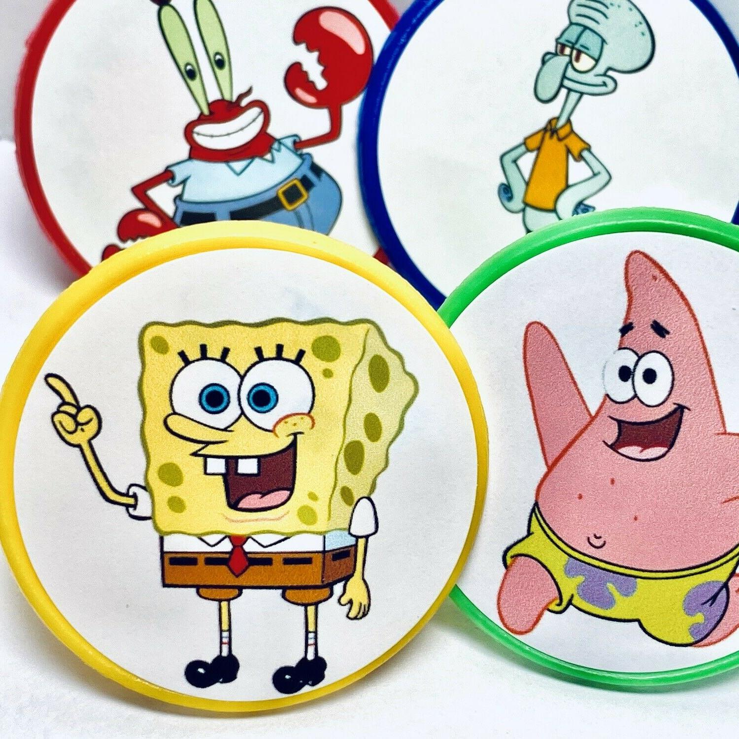 spongebob squarepants cupcake toppers party favors rings