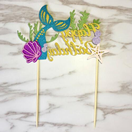 starfish mermaid happy birthday cake toppers cupcake