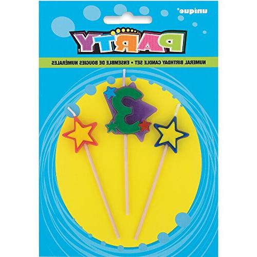 stars 3 birthday candle set