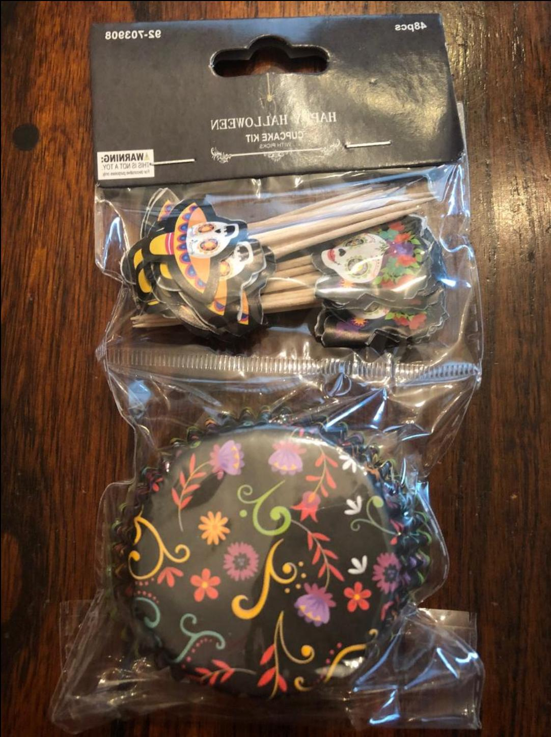 SUGAR SKULL DE MUERTOS CUPCAKE TOPPERS WRAPPERS PARTY SUPPLY