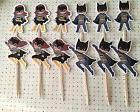 Superhero Batman Batgirl Party Set Of 12 Cupcake Toppers