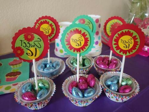 Sweet 16th birthday cupcake topper, green, red, flower, swee