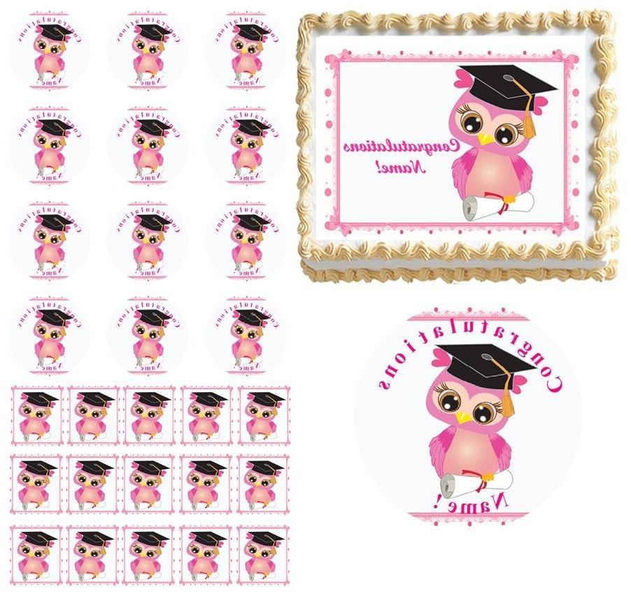 Sweet Pink OWL Preschool Kindergarten Graduation Edible Cake