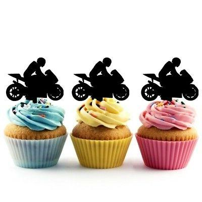 TA0200 Motorcycle Racing Sport Party Acrylic Cupcake Picks T