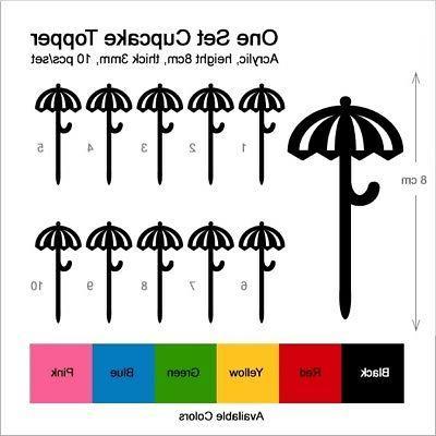 TA0656 Umbrella Cupcake Picks Topper 10 pcs
