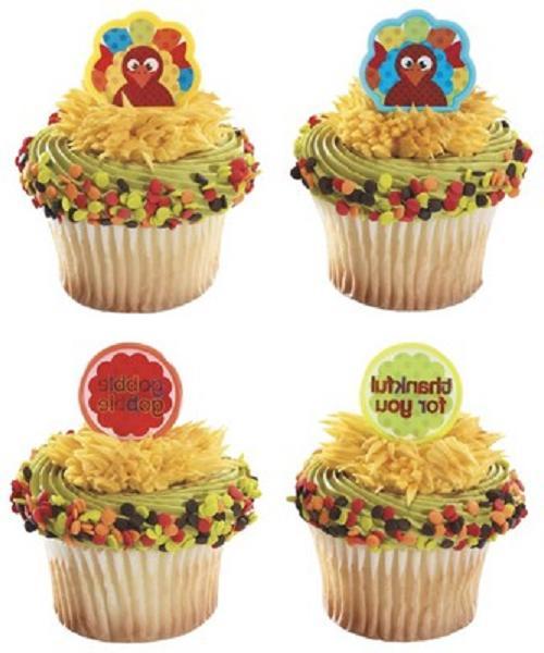 thanksgiving cake toppers thankful turkey cupcake rings