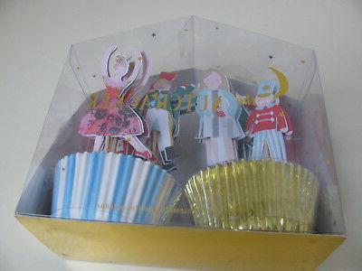 "MERI MERI NUTCRACKER"" CUPCAKE CUPS and TOPPERS / PICKS - NEW"