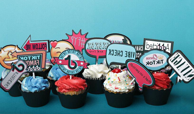 tiktok cake cupcake toppers set of 15