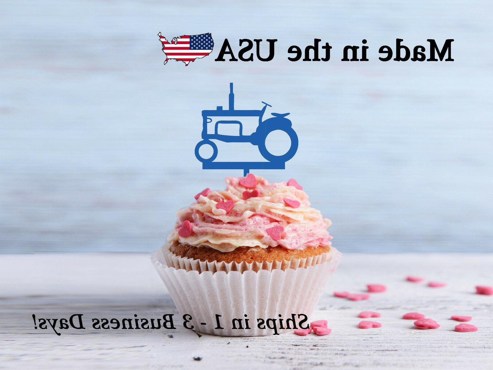 Tractor Cupcake Topper, Farm Decor, Boy's Birthday Party, Tr