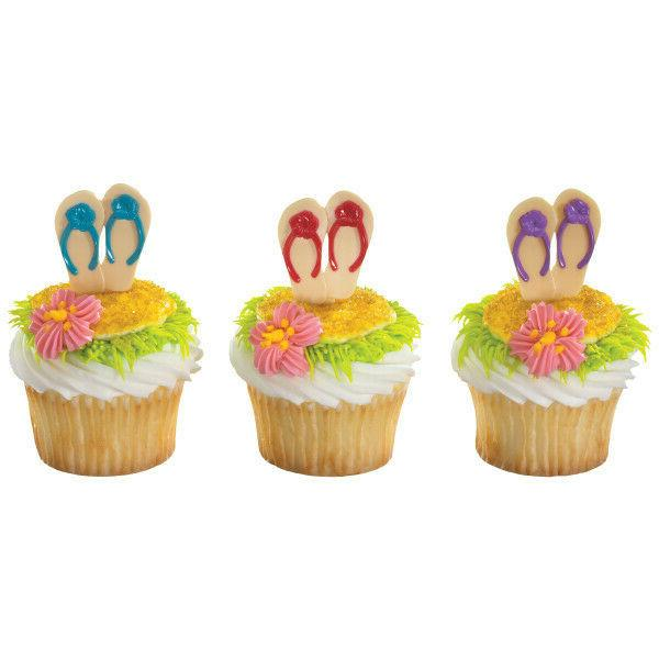 tropical cake toppers flip flop cupcake picks