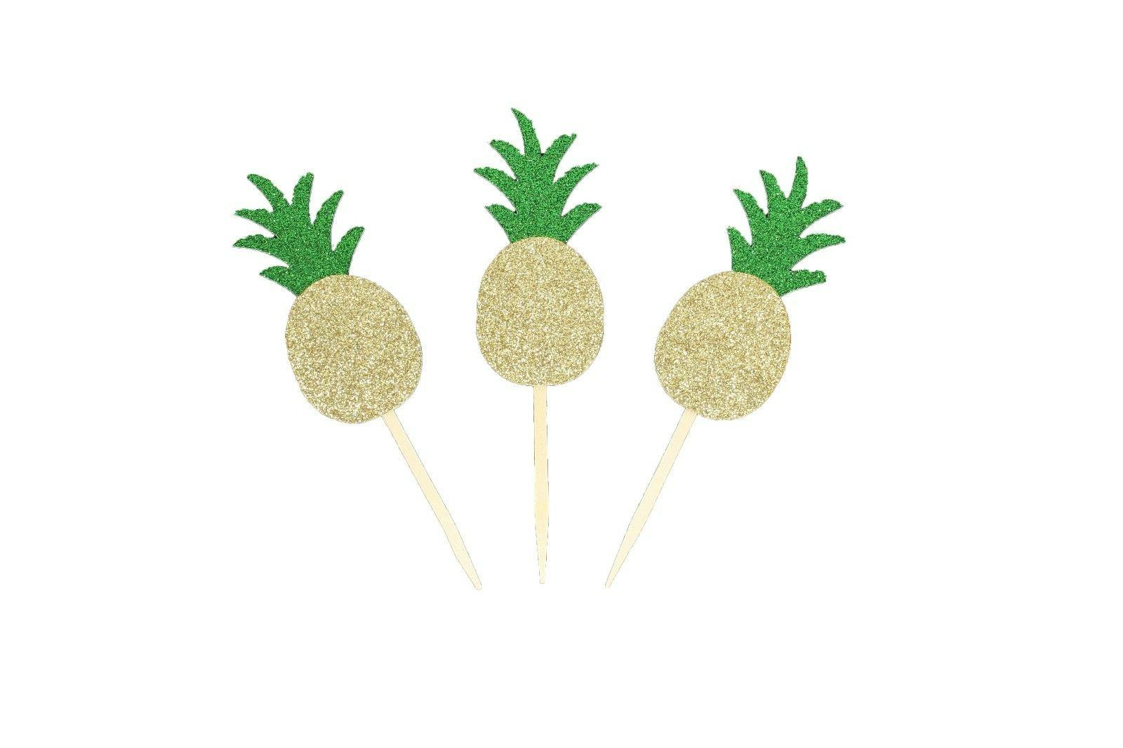 """Tropical PINEAPPLE Glitter 3-1/2"""" Cupcake Toppers CHOOSE Pac"""
