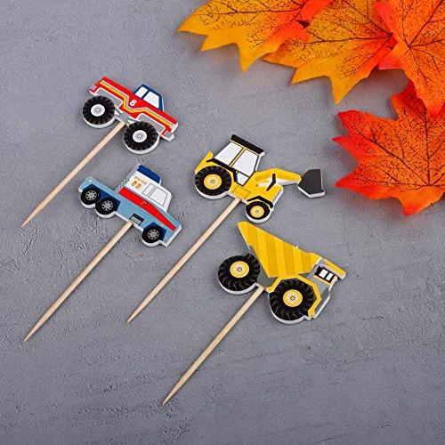 YunKo Cupcake Toppers Truck Excavator Fun Decorative Toppers Party