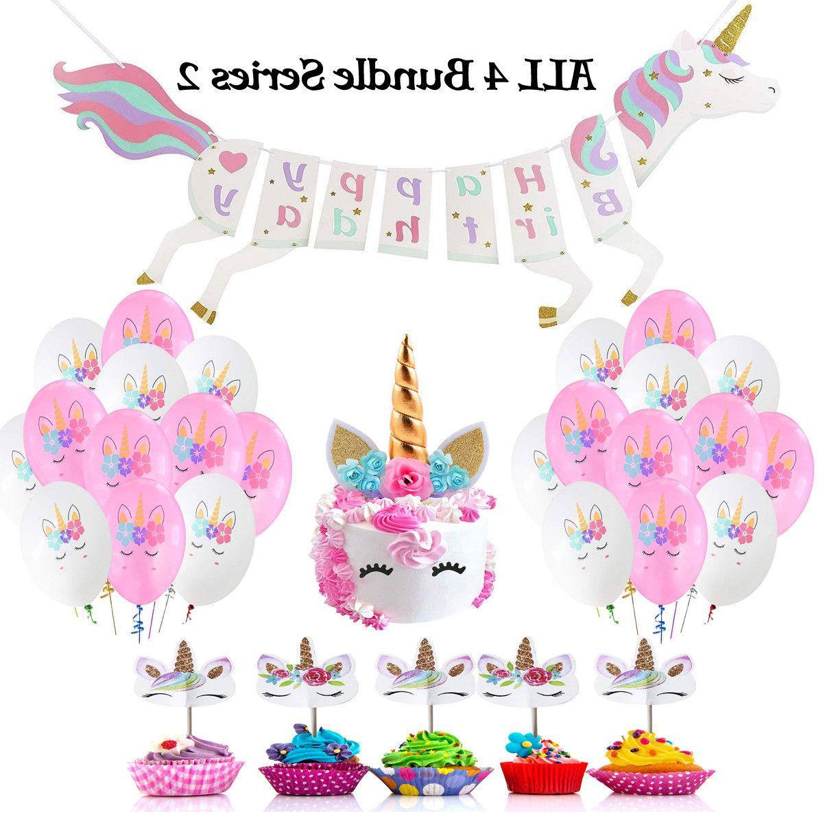 Unicorn Party Decoration, Cake & Topper,