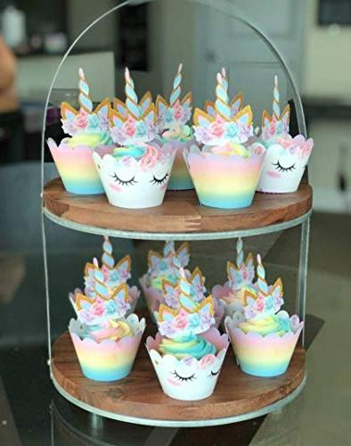 Unicorn Cupcake Decorations, Double Sided Toppers Wrappers, Decorations, Cute Party -- Designs