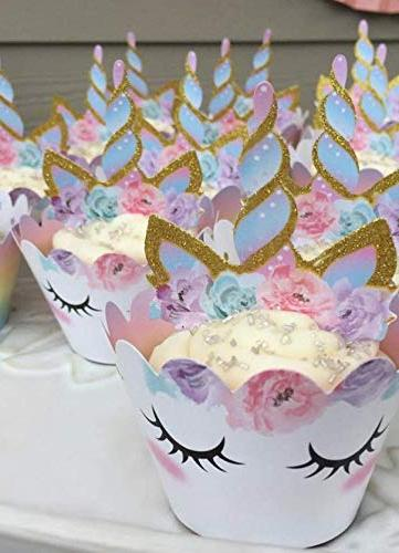 Unicorn Cupcake Decorations, Double Sided Wrappers, Rainbow Decorations, Girl's Birthday --