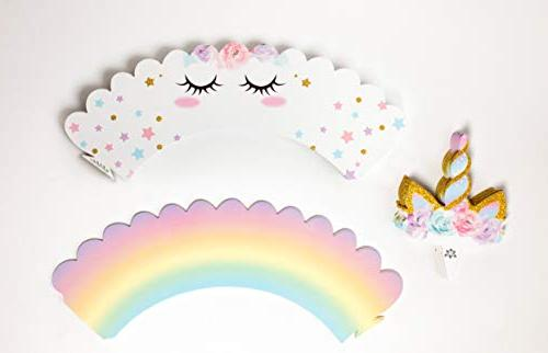 Unicorn Sided and Wrappers, Rainbow Decorations, Girl's -- By