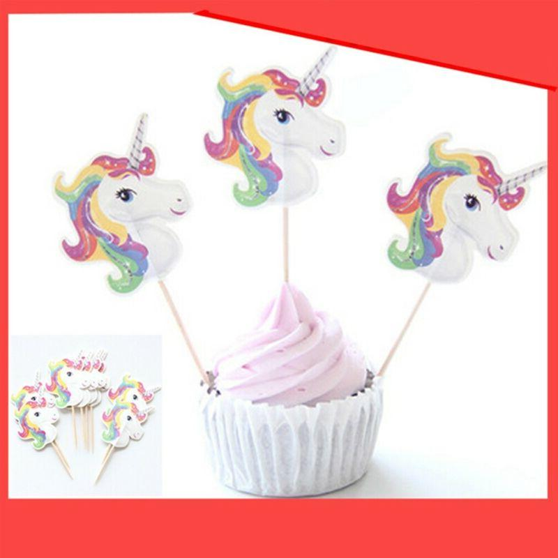 Unicorn Cupcake Toppers Picks Cup Shower