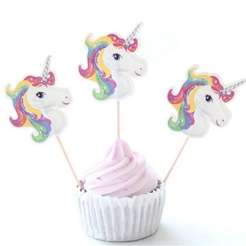 unicorn cupcake toppers picks x 24 decorating